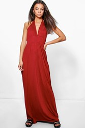 Boohoo Lailah Rouched Waist Racer Back Maxi Dress Berry
