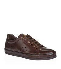 Stefano Ricci Perforated Leather Sneakers Male Chocolate