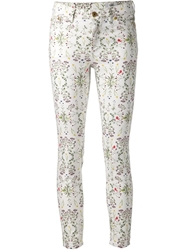 Closed Floral Print Slim Fit Jeans White