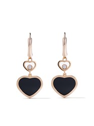 Chopard 18Kt Rose Gold Happy Hearts Onyx And Diamond Drop Earrings Unavailable