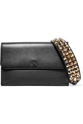 Christian Louboutin Loubiblues Studded Smooth And Textured Leather Clutch Black