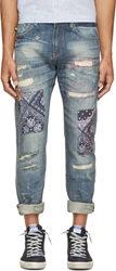 Mostly Heard Rarely Seen Blue Patched And Distressed Jeans
