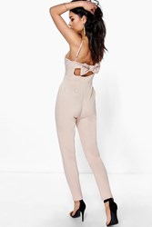 Boohoo Bow Back Strappy Skinny Leg Jumpsuit Stone