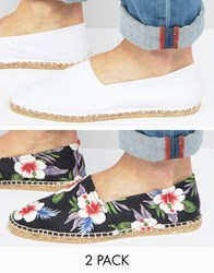 Asos 2 Pack Espadrilles With Plain White And Black Floral Save Multi