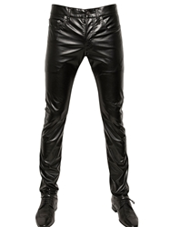 Saint Laurent 17.5Cm Stretch Faux Leather Jeans Black