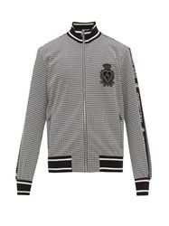 Dolce And Gabbana Crest Embroidered Houndstooth Bomber Jacket Black White