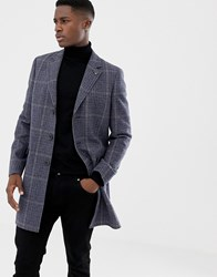 Jack Wills Croften Check Wool Overcoat In Grey