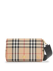 Burberry Vintage Check And Leather Note Crossbody Bag Yellow