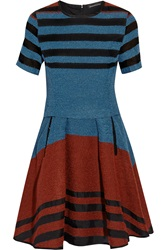 Ostwald Helgason Boucle And Silk Organza Dress Blue