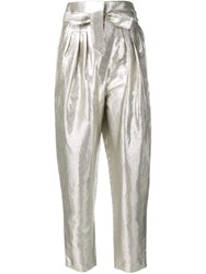 Iro Belted High Waisted Trousers Silver