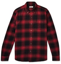 Alex Mill Button Down Collar Checked Cotton Flannel Shirt Red