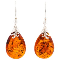 Be Jewelled Sterling Silver Cognac Baltic Amber Drop Earrings Amber
