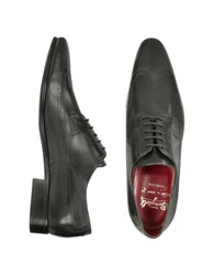 Fratelli Borgioli Handmade Black Italian Leather Wingtip Dress Shoes