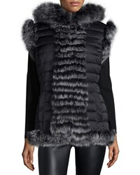 Belle Fare Reversible Fur Trim Vest With Hood Black