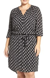 Caslonr Plus Size Women's Caslon Print Split Neck Tie Waist Dress Black Woodblock Print