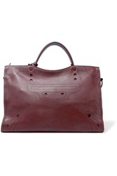 Balenciaga City Blackout Perforated Leather Tote Burgundy