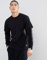 Aape By A Bathing Ape Long Sleeve Layered T Shirt With Sleeve Print In Black