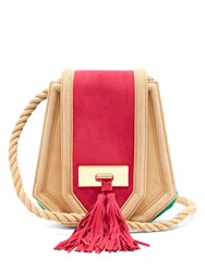 Balmain Chaska Suede Cross Body Bag Pink Multi