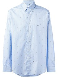 Etro Checked Animal Patch Shirt Blue