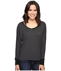 Allen Allen Long Sleeve Drop Shoulder High Low V Neck Black Women's Long Sleeve Pullover