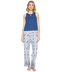 Lucky Brand Cotton Fringe Tee Jay Blue Parina Floral Women's Pajama Sets