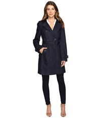 Michael Michael Kors Double Breasted Trench M722078r74 Denim Women's Coat Blue