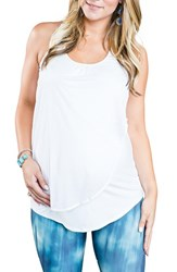 Cozy Orange Women's 'Cooper' Racerback Maternity Tank Optic White