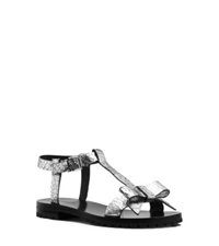 Michael Kors Fiona Runway Crackled Metallic Leather Sandal Silver