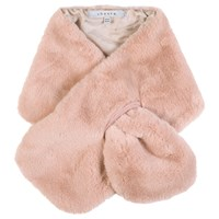 Chesca Satin Lined Faux Fur Tippet Scarf Pink