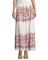 Free Generation Embroidered Tiered Maxi Skirt White Pattern