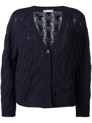Cruciani Cable Knit Cardigan Blue