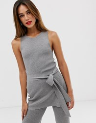 Mango Ribbed Tunic Two Piece In Gray