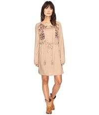 Rock And Roll Cowgirl Long Sleeve Dress D4 9657 Tan Women's Dress
