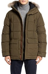 Sorel Men's Ankeny Quilted Goose Down Jacket With Detachable Genuine Coyote Fur Trim Olive Green