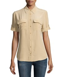 Equipment Slim Signature Short Sleeve Silk Blouse Khaki