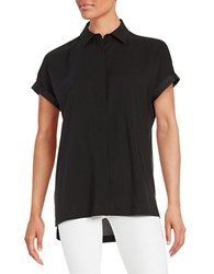 Lord And Taylor Petite Cuffed Button Down Blouse Black