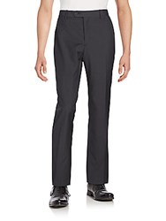 Saks Fifth Avenue Flat Front Wool Blend Pants Charcoal