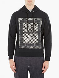 Ganryu Black Hoodie With Plaid Panel