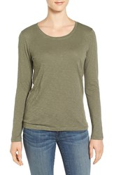 Caslonr Women's Caslon Long Sleeve Slub Knit Tee Olive Grove