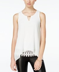 Amy Byer Bcx Juniors' Crochet Trim Asymmetrical Hem Tank Top White