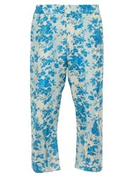 By Walid Hiro Cropped Floral Print Silk Trousers Blue White