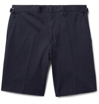 Burberry Stretch Cotton Seersucker Shorts Midnight Blue