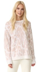 Baja East Leopard Cashmere Sweater Blush