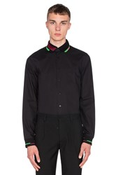 Fred Perry X Raf Simons Long Sleeve Ribbed Collar And Cuff Shirt Black