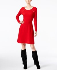 Inc International Concepts Fit And Flare Sweater Dress Only At Macy's Real Red
