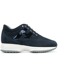 Hogan Sequinned Logo Lace Up Sneakers Leather Suede Rubber Blue