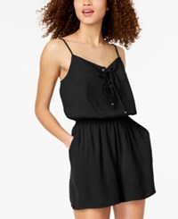 One Clothing Juniors' Lace Up Romper Black