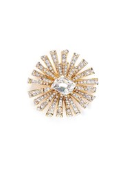 Kenneth Jay Lane Glass Crystal Gold Plated Starburst Brooch White