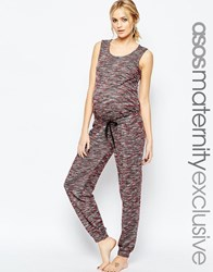 Asos Maternity Lounge Jumpsuit In Space Dye With Tie Waist Multi