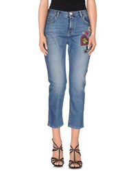 Pinko Black Denim Denim Capris Women Blue